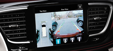 Car touch screen display showing the back-up camera.