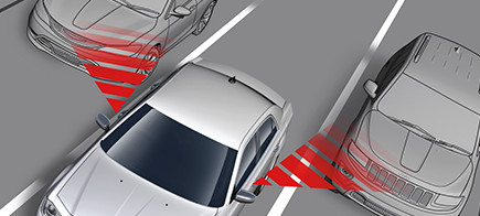 Diagram showcasing the blind-spot monitoring function on a car.