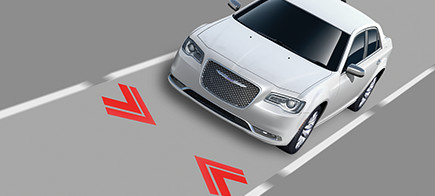 Diagram showcasing the lane keep assist function on a car.
