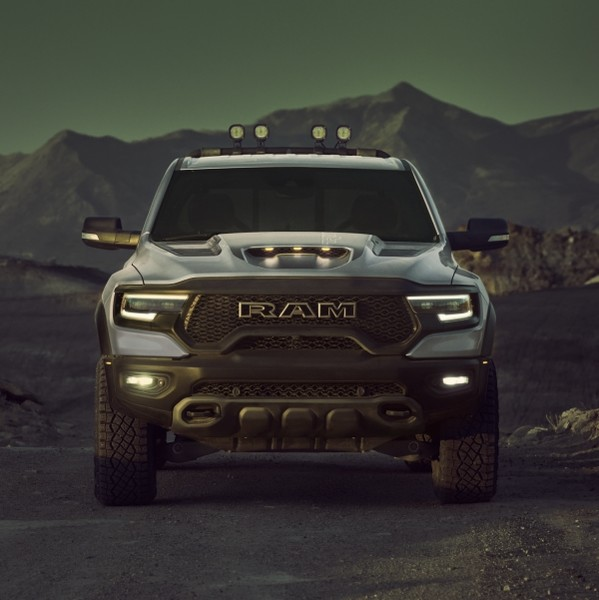 2021 Ram 1500 TRX front view in Billet silver in the desert.