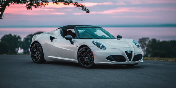 Silver 2020 Alfa Romeo 4C Spider parked on the road