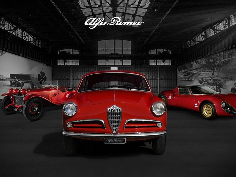 Hangar showing legendary Alfa Romeo cars