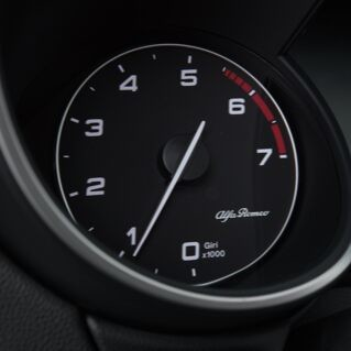 A close-up of the tachometer in the 2020 Alfa Romeo Stelvio.