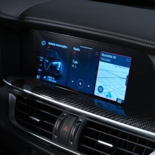 A close-up of the touchscreen in the 2020 Alfa Romeo Stelvio.