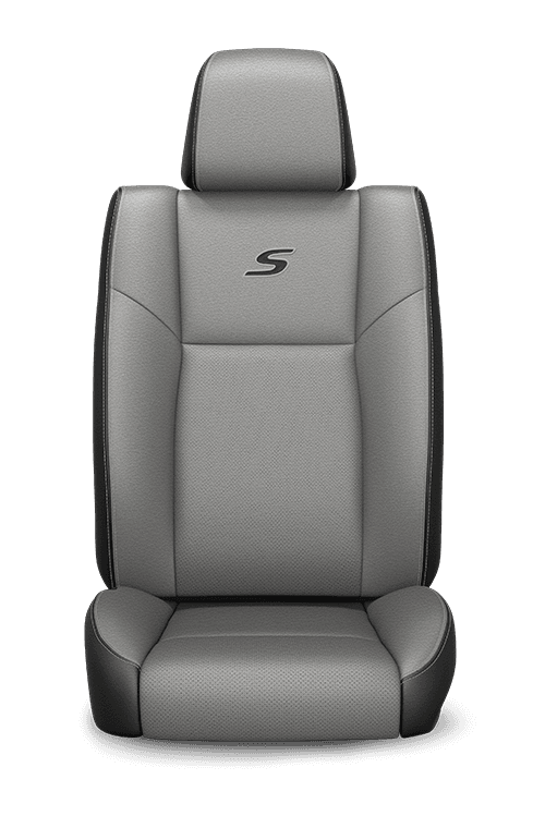 2019 Chrysler 300 Nappa Leather-faced black and grey seats with grey accent stitching
