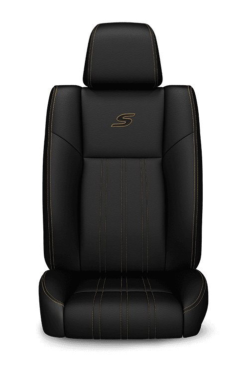 2019 Chrysler 300 Nappa Leather-faced black seats with caramel accent stitching