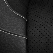 Nappa leather-faced with Alcantara<sup>®</sup> bolsters and perforated inserts - Black with Light Diesel accent stitching and embroidered S logo
