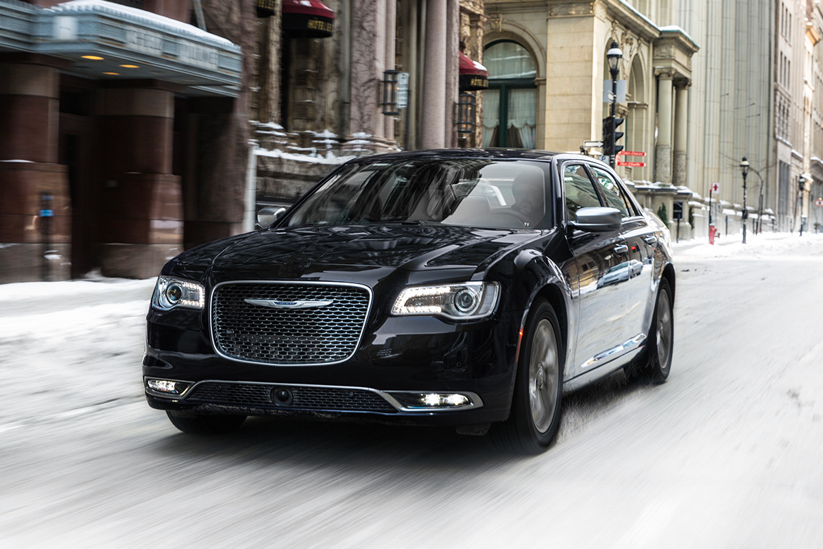 2019 Chrysler 300 with leather-wrapped steering wheel and 20-inch aluminum wheels