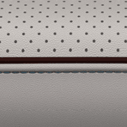 Nappa leather-faced with perforated inserts - Alloy with Cranberry Wine accent piping and stitching