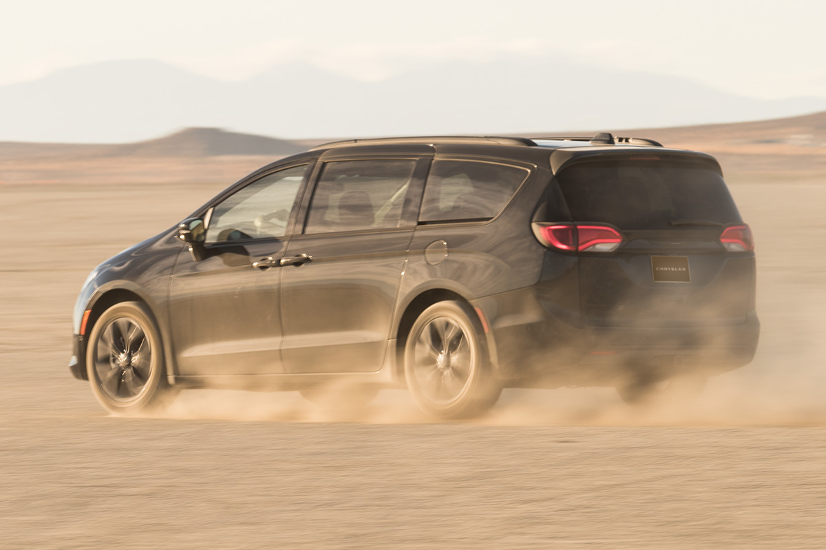 2019 Chrysler Pacifica black exterior driving in dirt