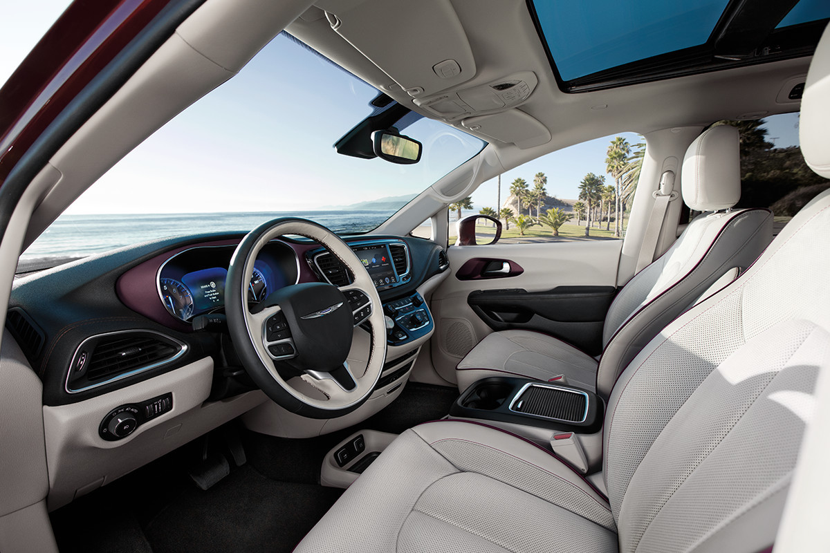 2019 Chrysler Pacifica alloy interior with cranberry wine stitching