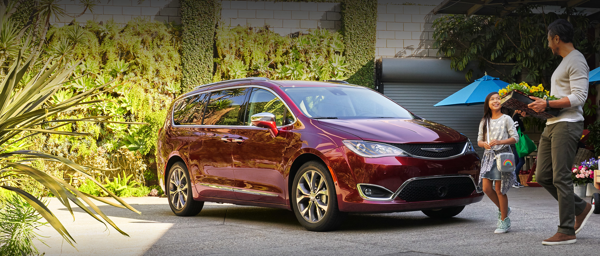 Family walking towards a red 2020 Chrysler Pacifica.