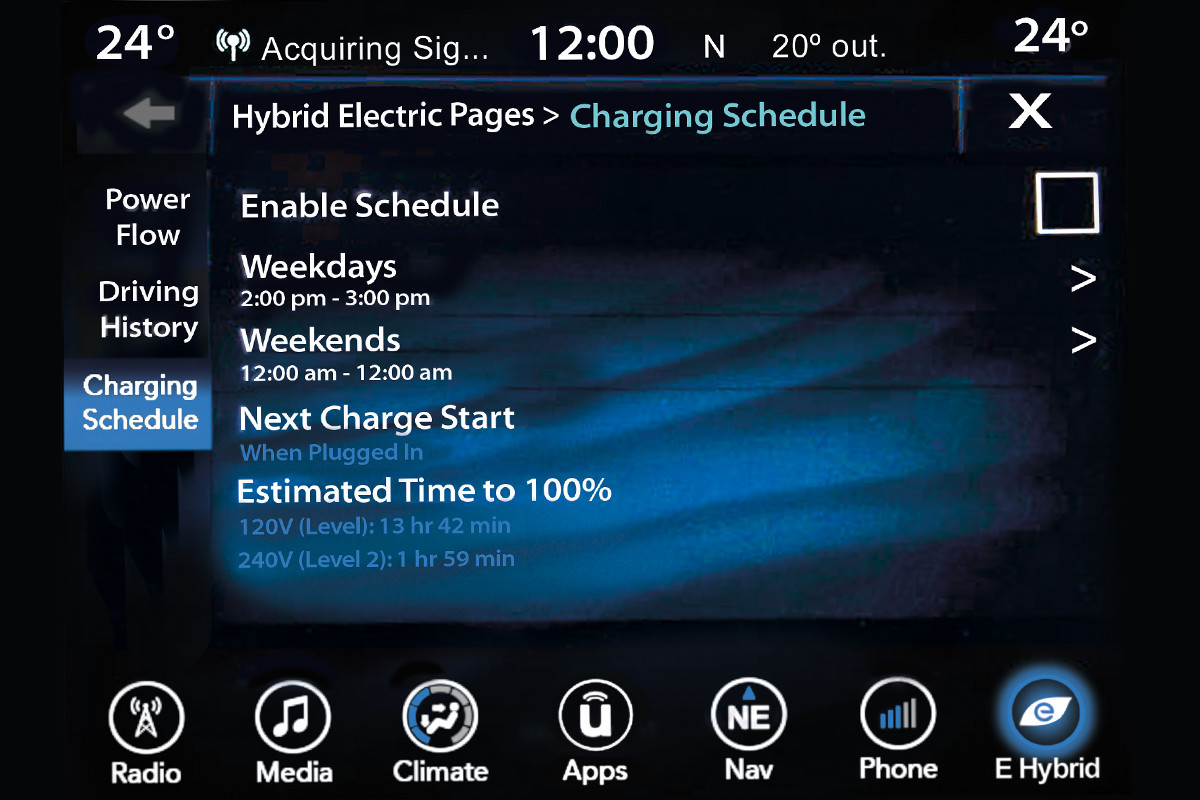 19MY Chrysler Pacifica Hybrid charging schedule screen display