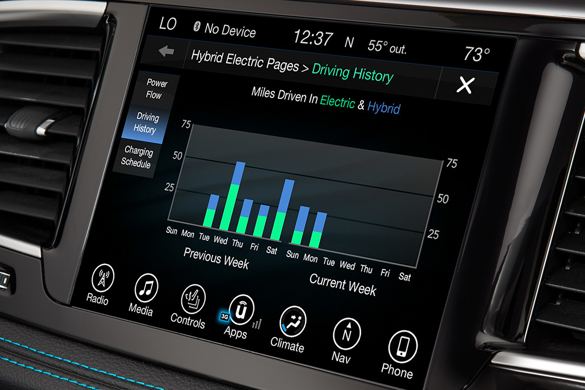 2019 Chrysler Pacifica Hybrid driving history screen display on centre console