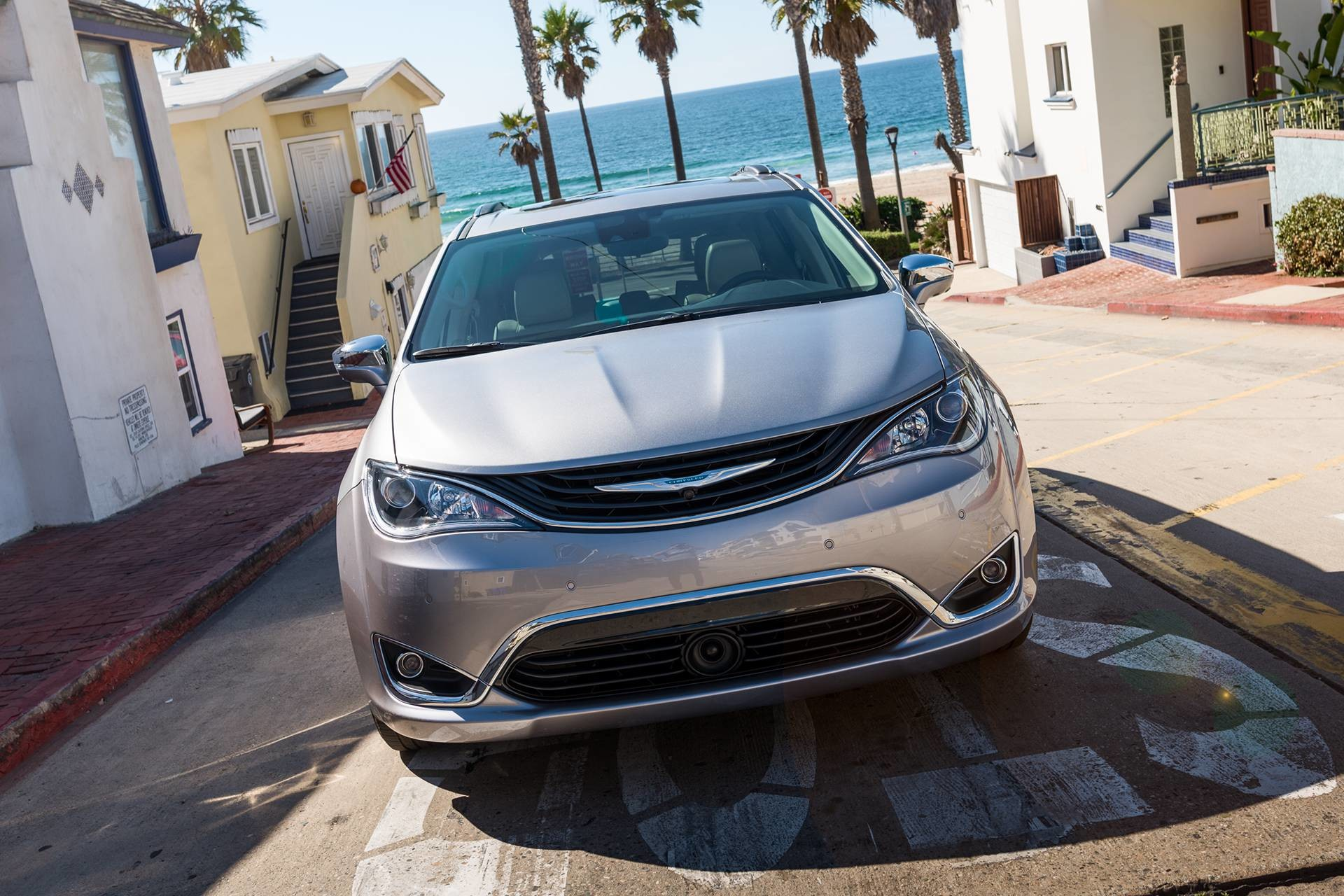 2019 Chrysler Pacifica Hybrid exterior front view showing LED daytime running lights