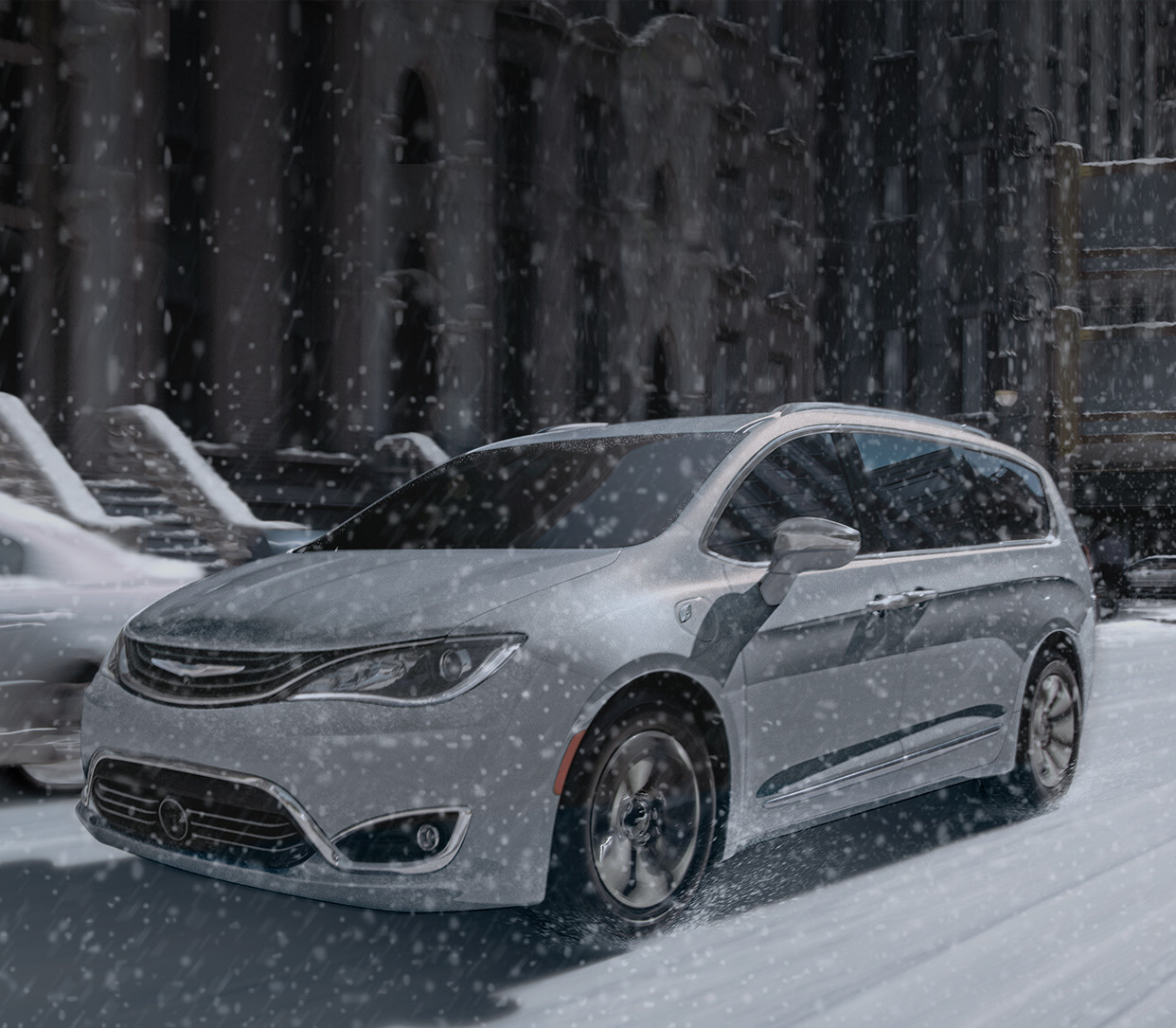 2019 Chrysler Pacifica Hybrid with grey exterior with ocean view