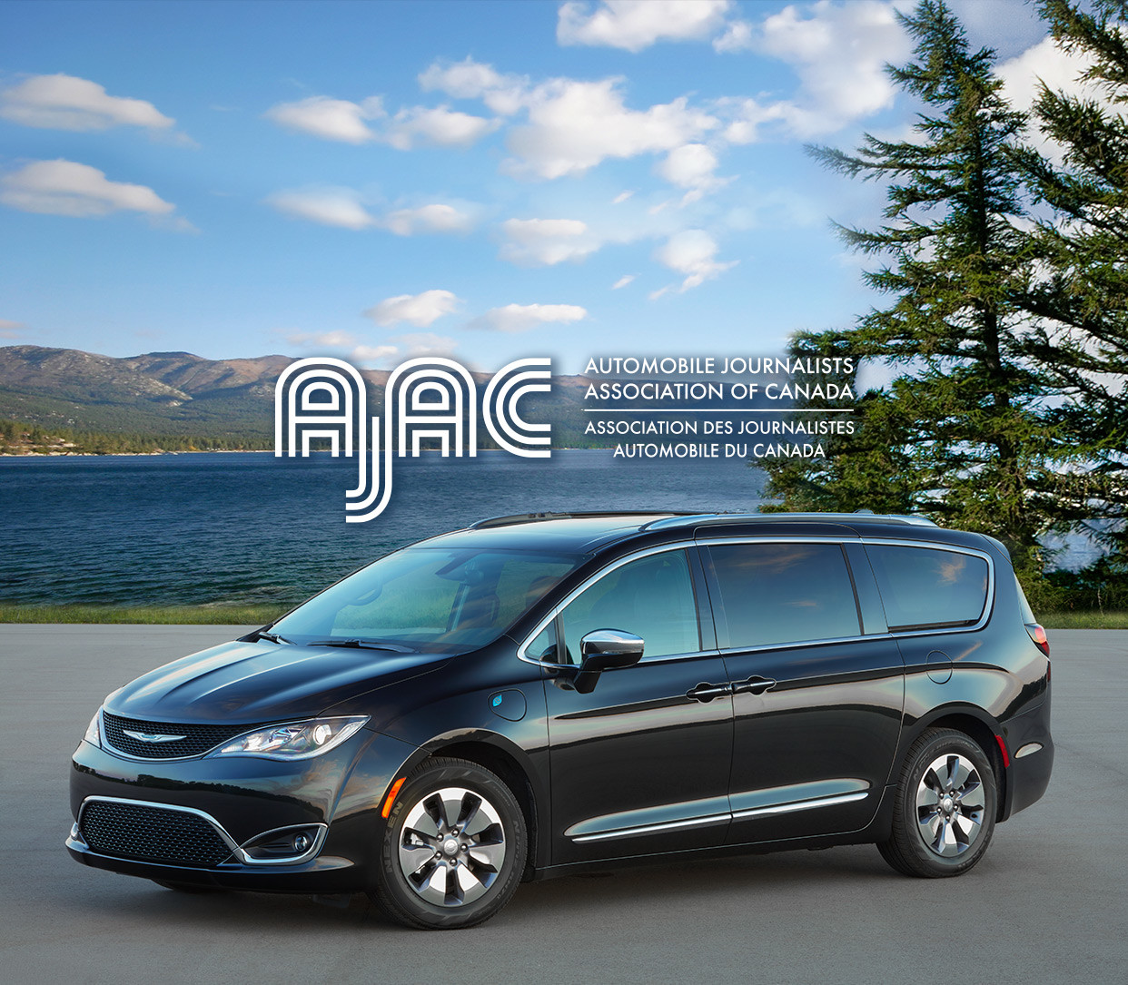 Black 2020 Chrysler Pacifica Hybrid parked in front of a lake with AJAC logo.