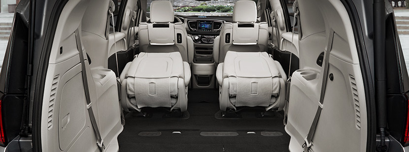 Rear view of the trunk space of the 2020 Chrysler Pacifica Hybrid with the 2nd row folded