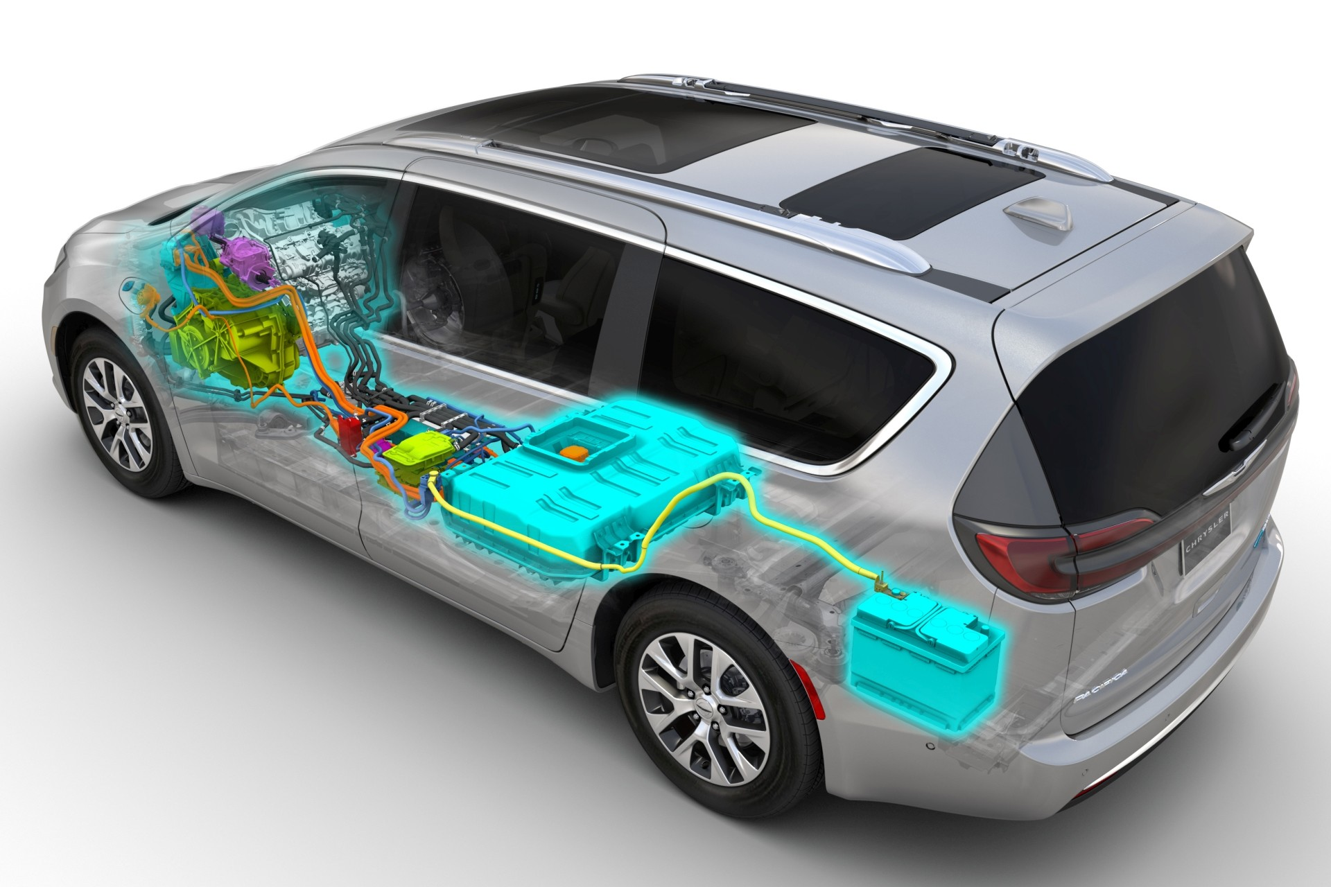 An elevated view of a Billet Metallic Pacifica Hybrid with an overlaid illustration of the vehicle's 3.6L Pentastar VVT V6 Hybrid engine and 16-kWh lithium battery.