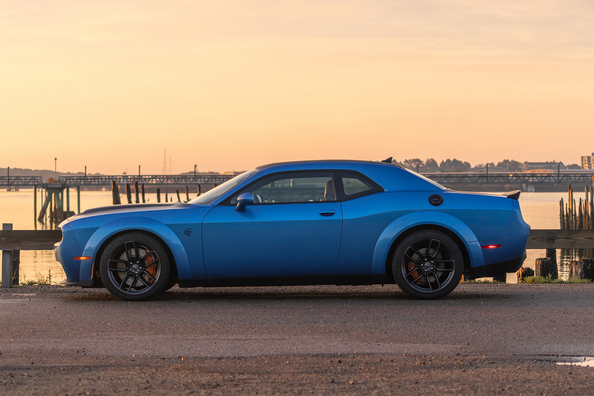 Dodge Challenger SRT Hellcat front view in desert shown in blue