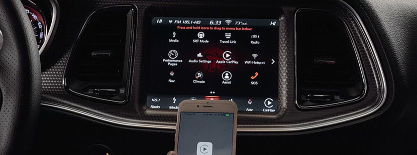 The 8.4-inch multi touchscreen of the 2020 Dodge Challenger displaying the Uconnect System