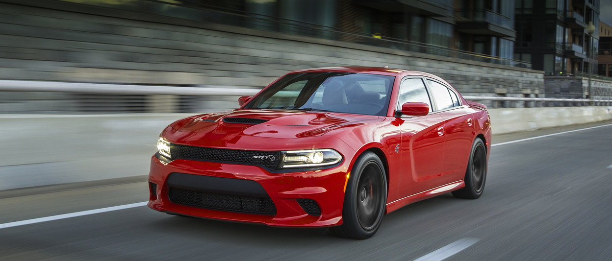 2018 Dodge Charger front view, shown in red