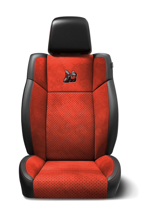 "Nappa leather-faced with Alcantara<span class=""unbr""><sup>®</sup></span> suede bolsters and perforated inserts - Black and Ruby Red with Ruby Red accent stitching"