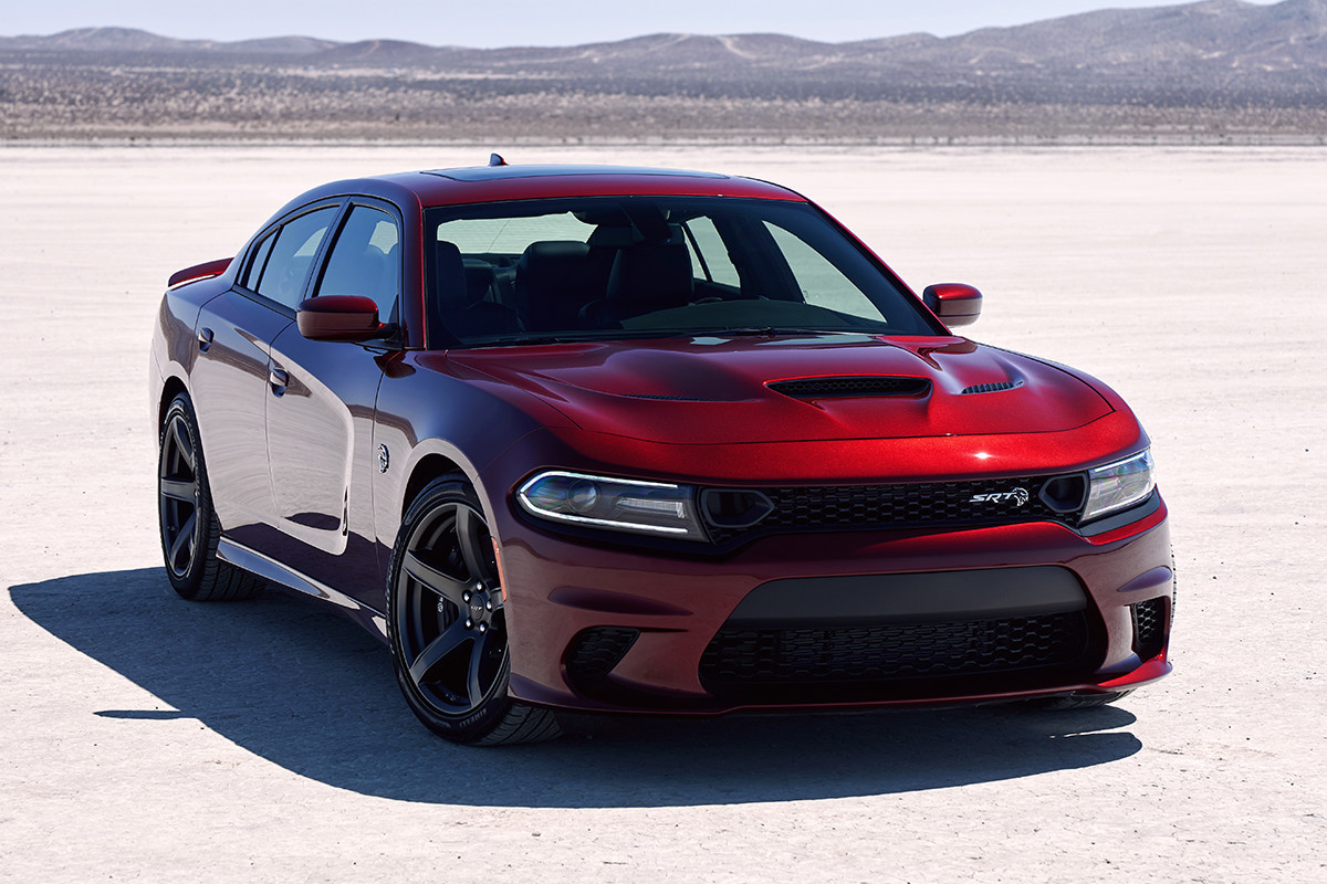 2019 Dodge Charger front view of red SRT Hellcat