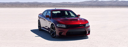 2019 Dodge Charger Hellcat front view, shown in red