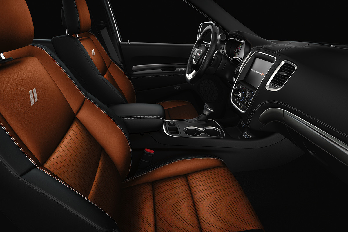 2019 Dodge Durango view of interior, showing premium nappa leather-faced seats