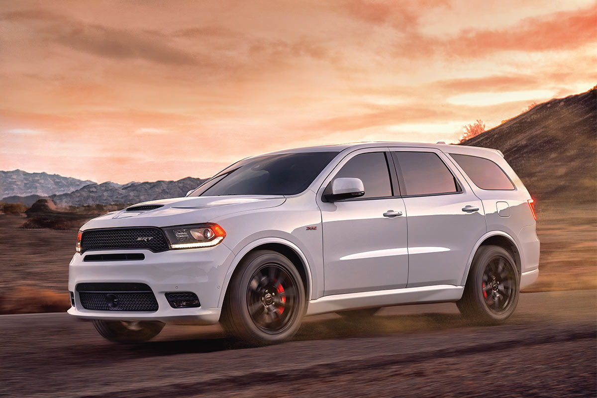 2019 Dodge Durango exterior view, driving down highway, shown in red