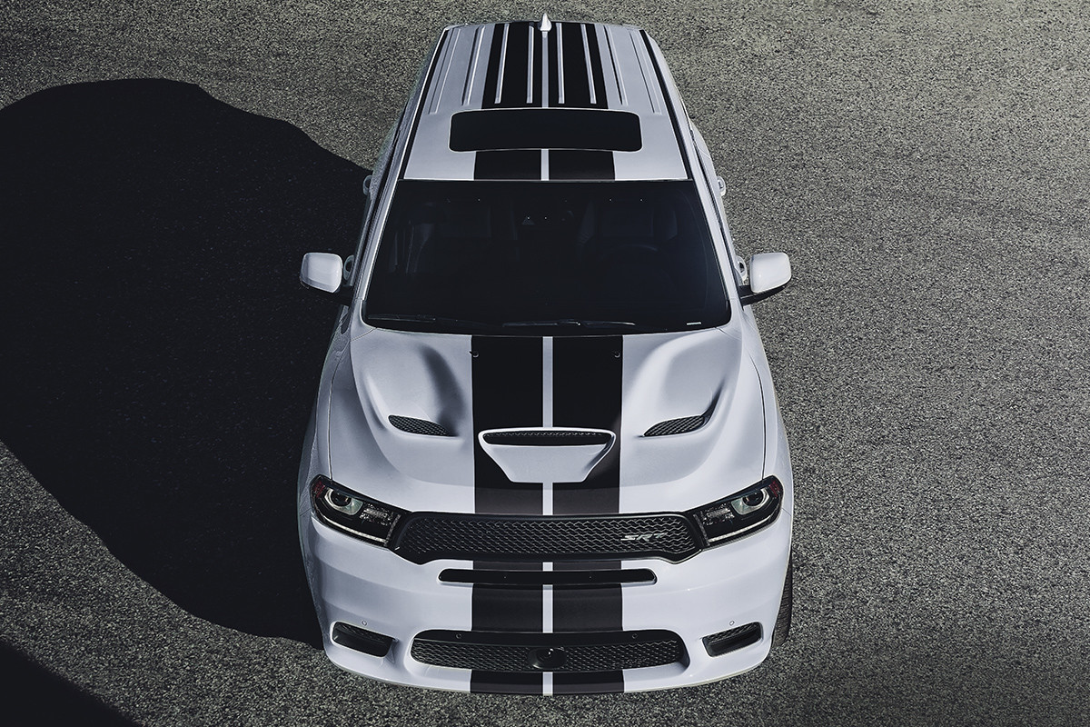 2019 Dodge Durango exterior view, top view, shown in white with black racing stripes