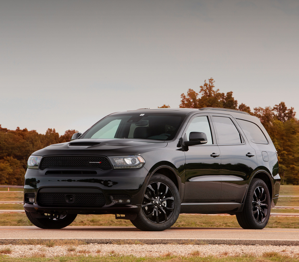 Black Dodge Durango Parked by the Plains