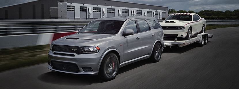 2019 Dodge Durango view of exterior in silver pulling a boat
