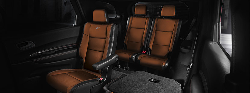 Overview of the brown rear seats of the 2020 Dodge Durango
