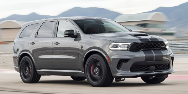Grey 2021 Dodge Durango driving on a racetrack.