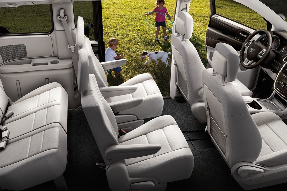 2019 Dodge Grand Caravan interior view of grey seats