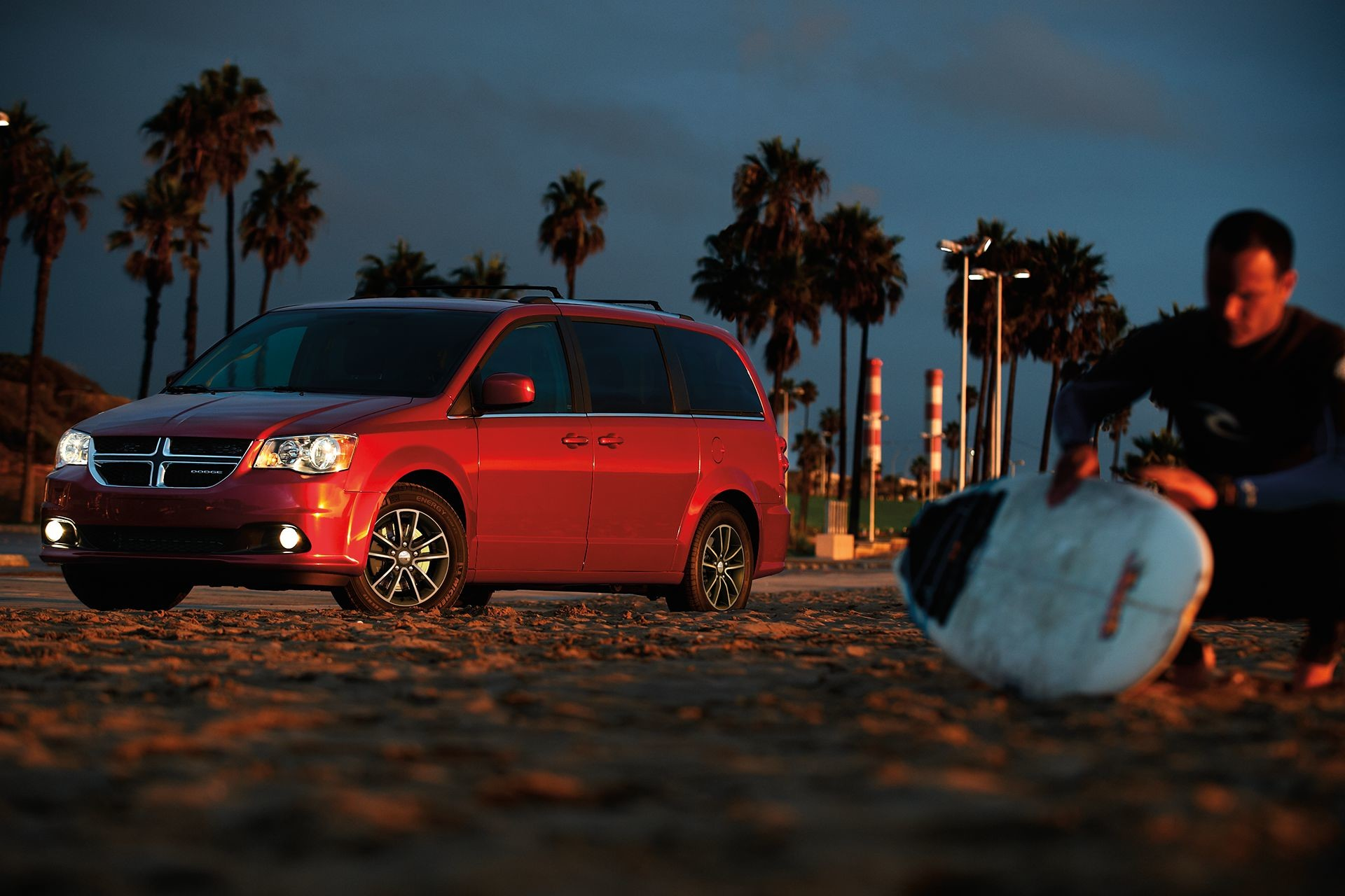 2019 Dodge Grand Caravan exterior view in red on a beach