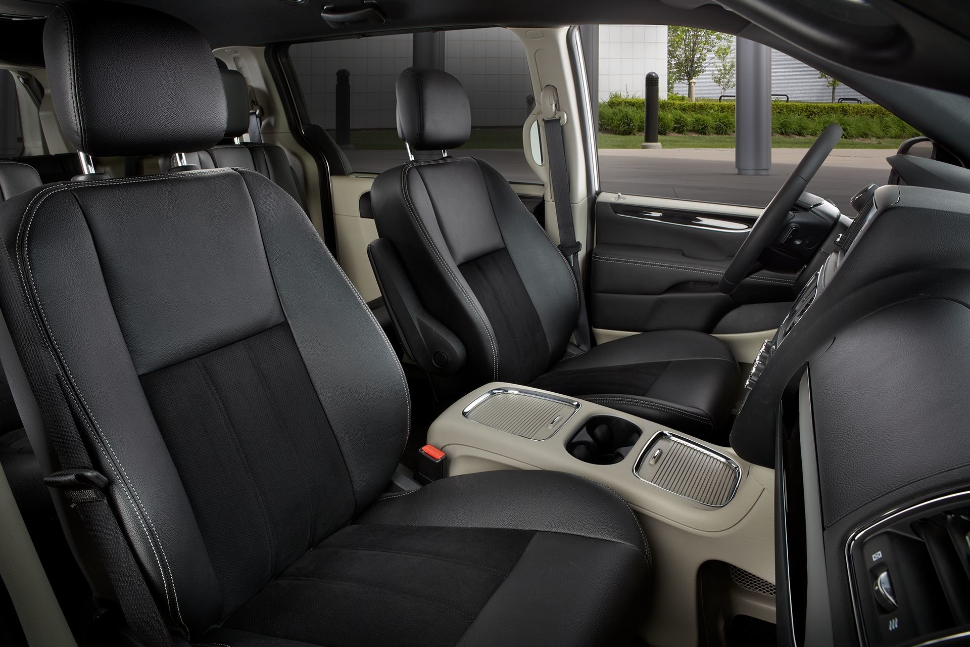 2019 Dodge Grand Caravan interior view of front seats in black