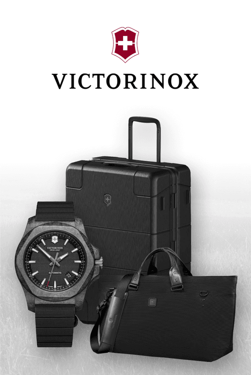 Victorinox branded watch, purse and travel bag displayed besides of the Victorinox logo.