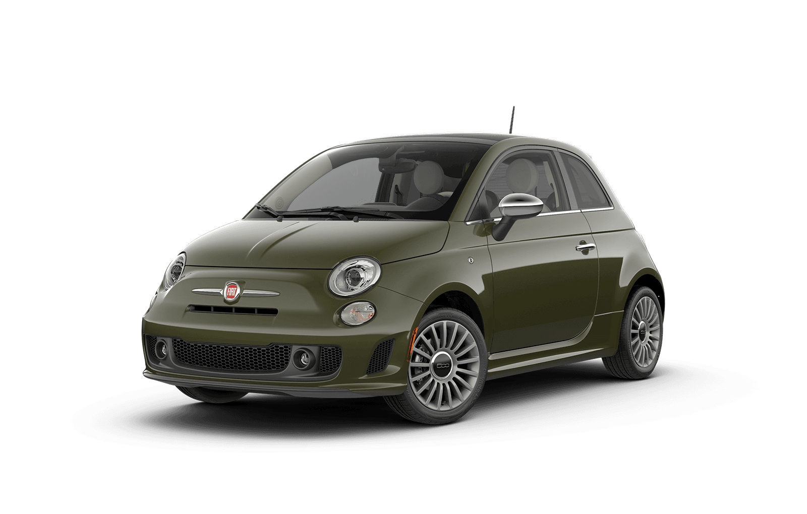 2018 FIAT 500 Full View in Olive Green with Wheels