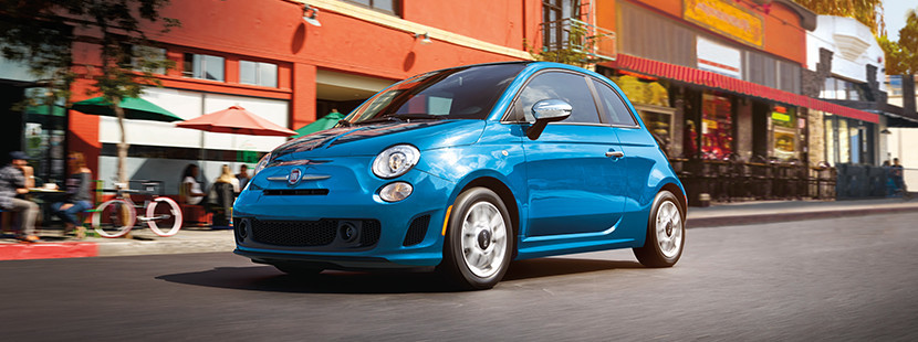 Full view of the 2018 Fiat 500 in Laser Blue Metallic