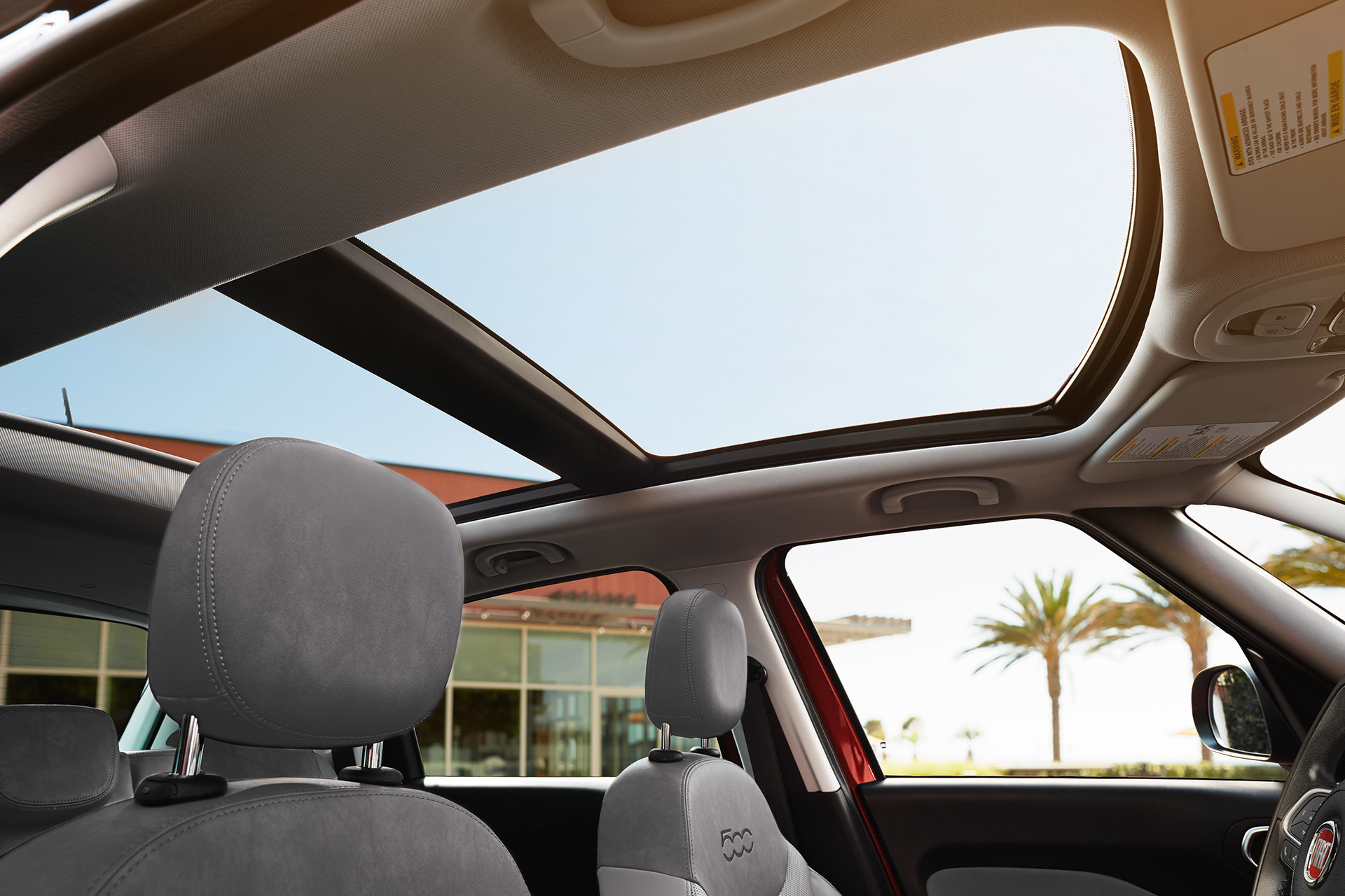 2019 Fiat 500L interior view of dual pane sunroof