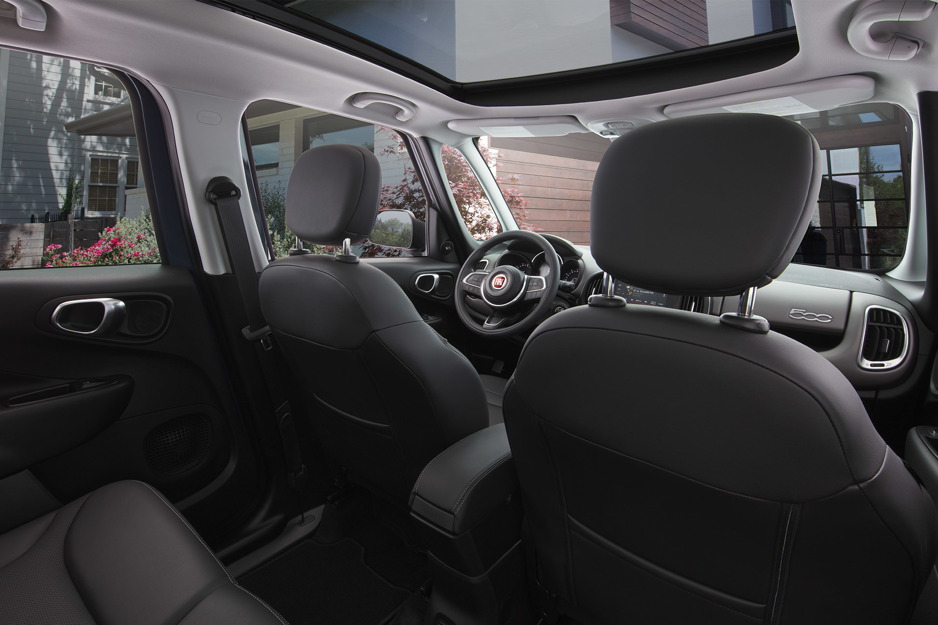 2019 Fiat 500L view of interior from rear seat