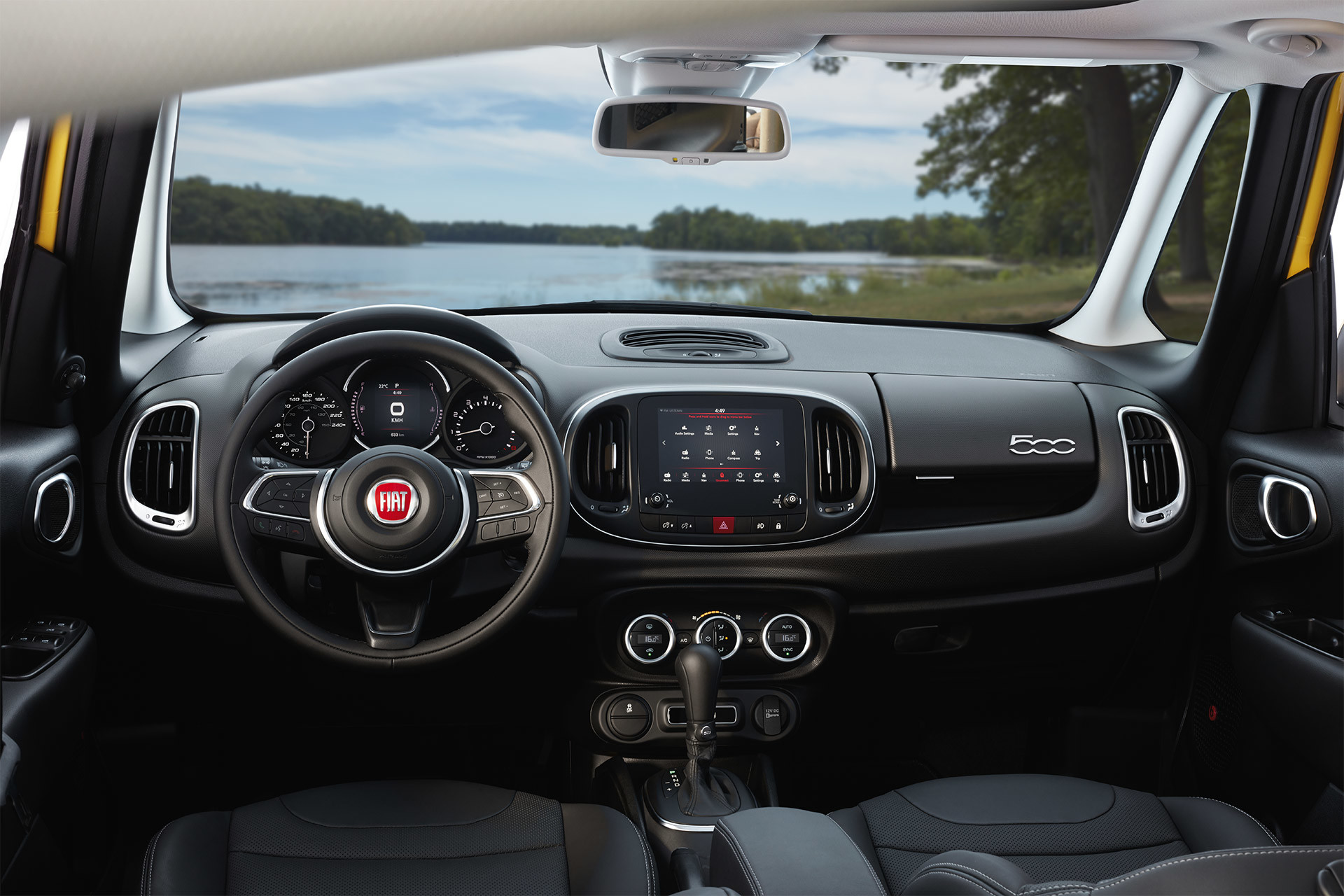 2019 Fiat 500L interior view of dashboard and Uconnect multimedia centre