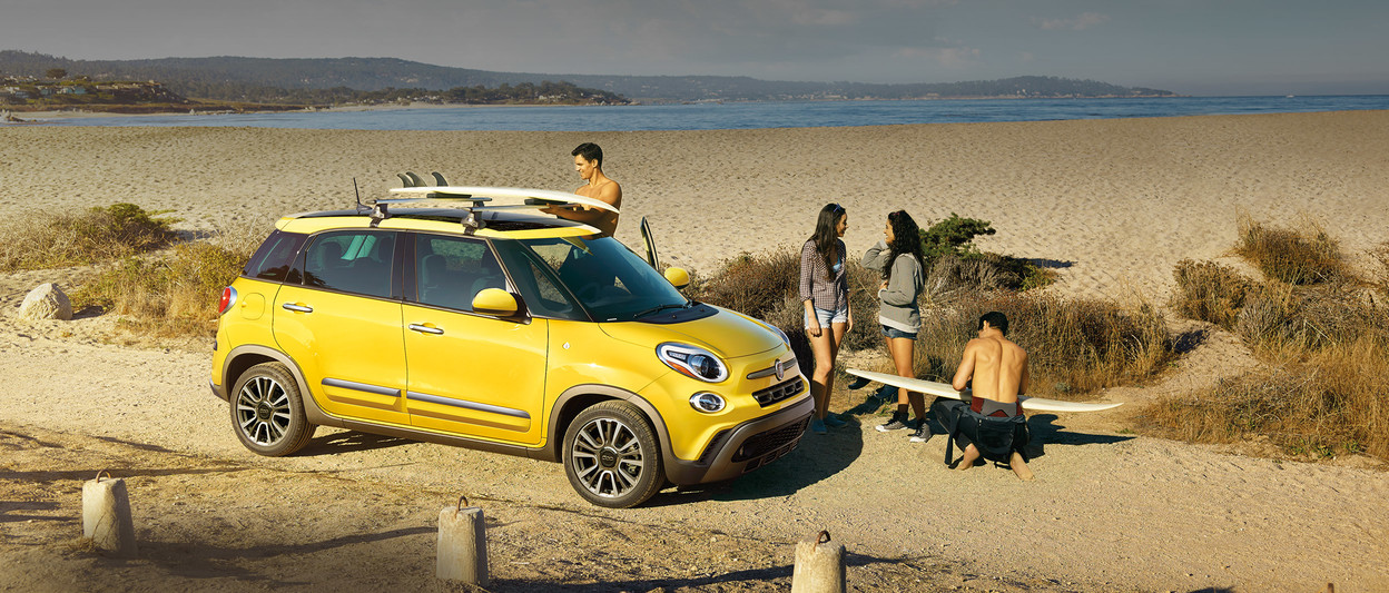 2019 Fiat 500L by oceanside, shown in yellow