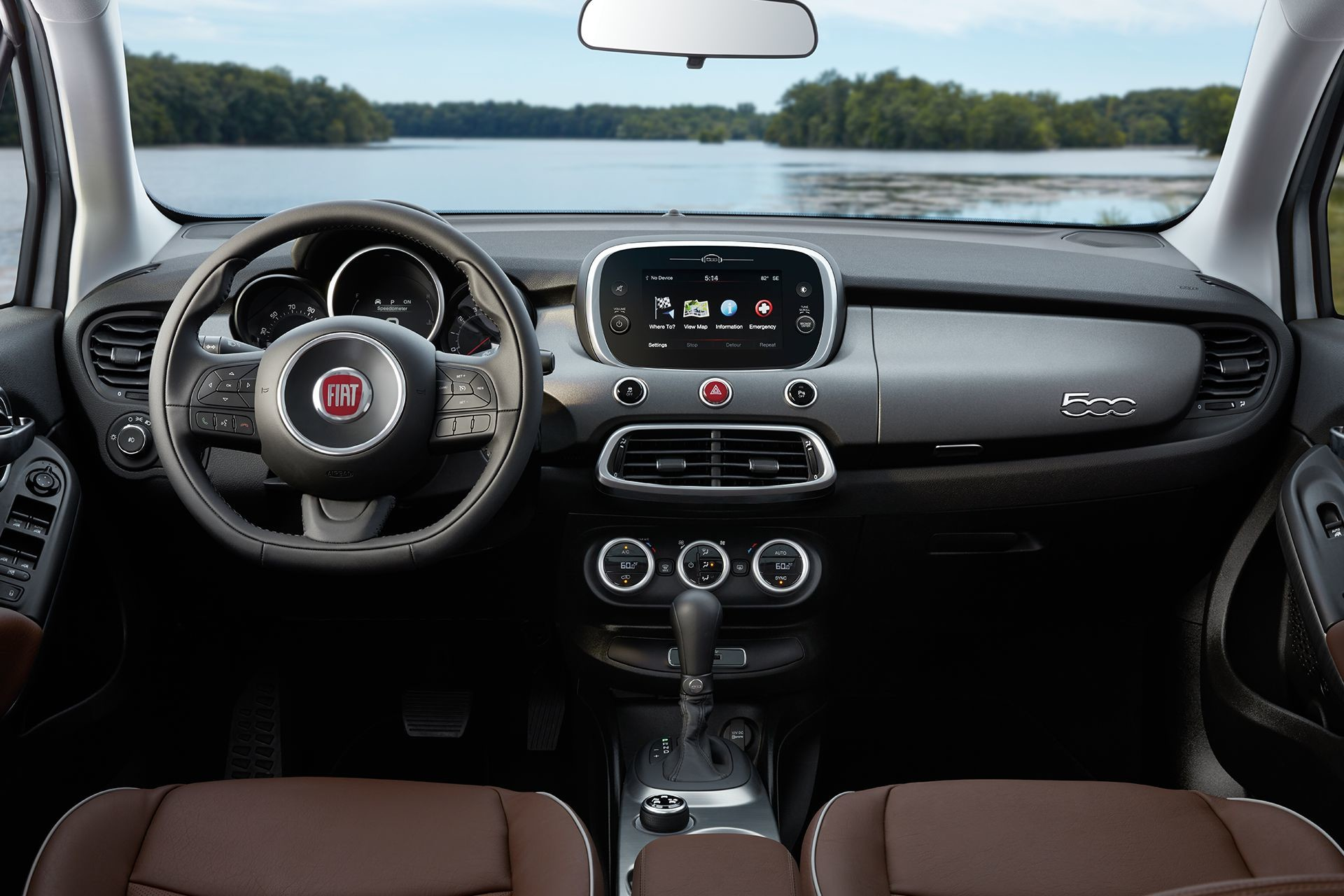 2018 Fiat 500X crossover interior with 7-inch touchscreen