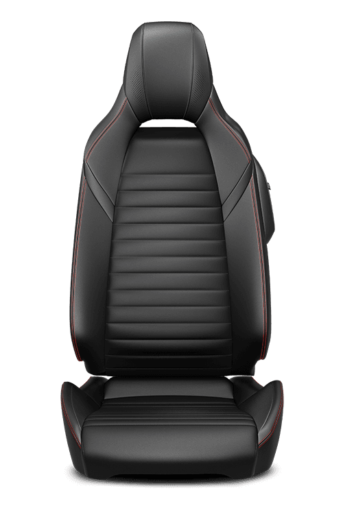 Leather-faced – Black with Red double stitching