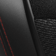 Leather-faced Recaro with Alcantara<sup>®</sup> inserts – Black with Red piping