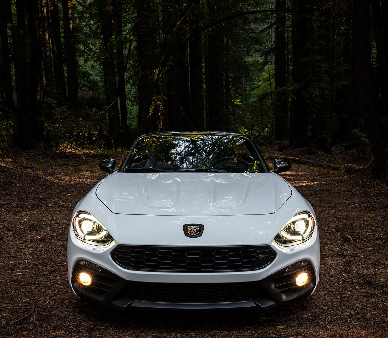 2019 Fiat 124 Spider driving down highway, show in red